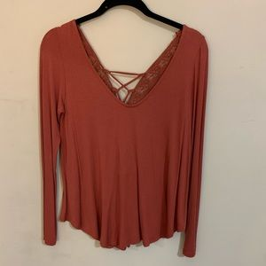 Rust long-sleeve with detailed back